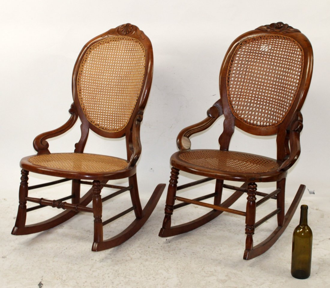 Pair of American Victorian rocking parlor chairs