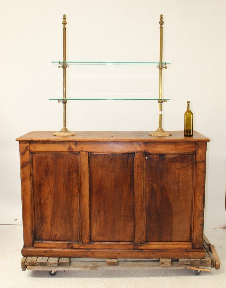 Antique French pine bakery store display counter