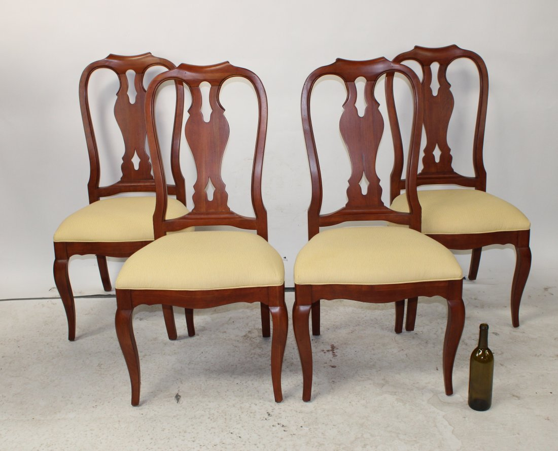 Lot of 4 Ethan Allen Queen Anne chairs in mahogany