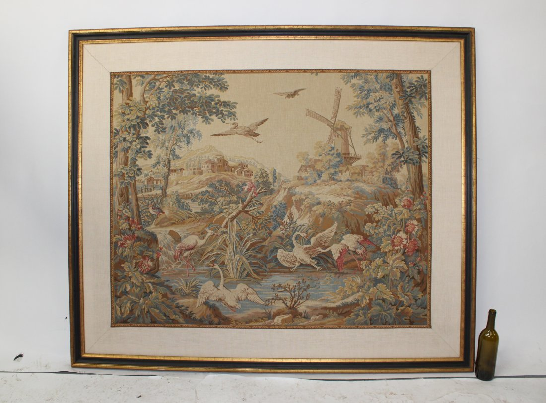 French verdure tapestry landscape with windmill