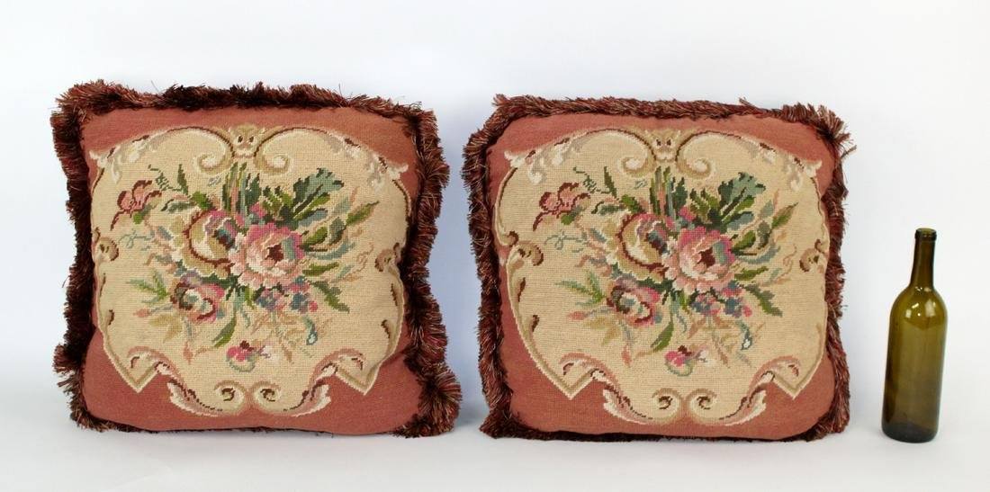 Pair of floral needlepoint throw pillows