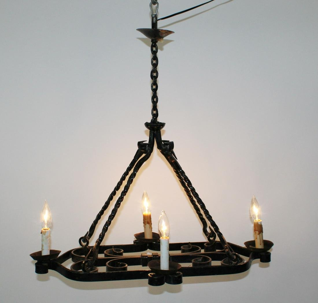 Wrought iron 4 light suspension chandelier