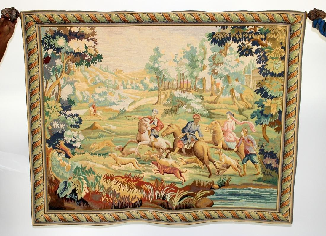 Hunt scene Belgian style tapestry