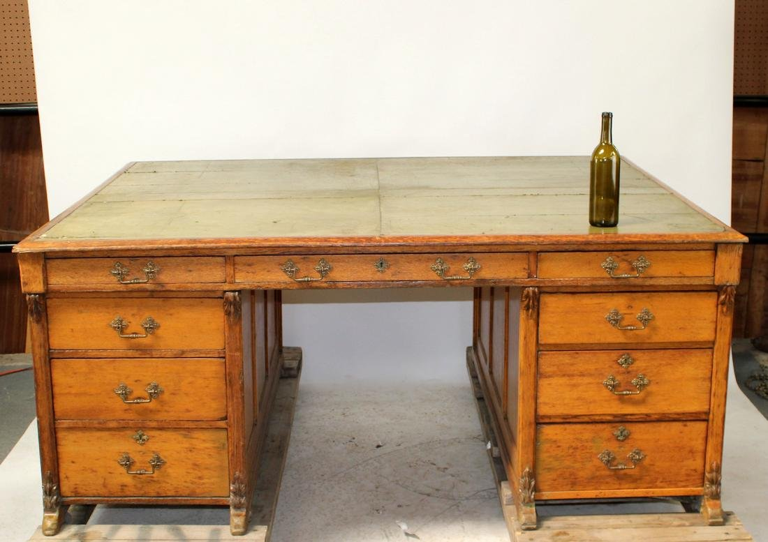 Antique American oak partners desk with leather top