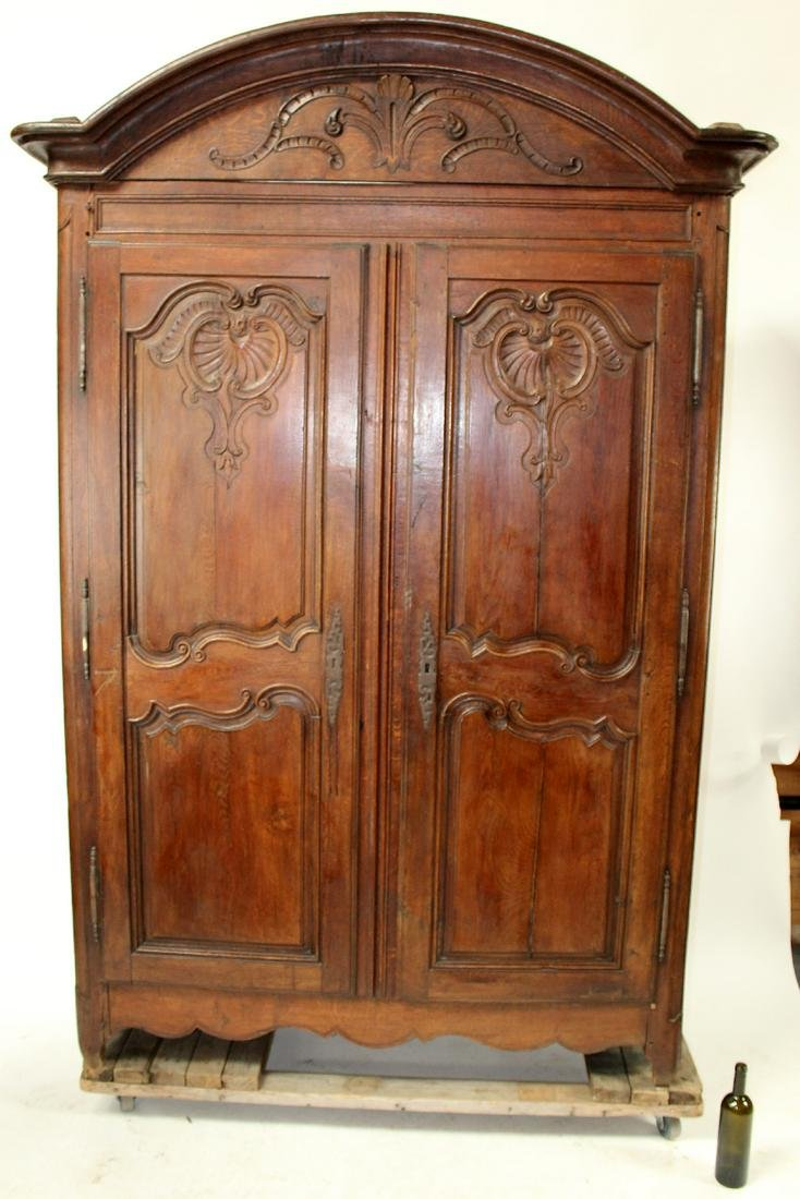 French Provincial dome top 2 door armoire