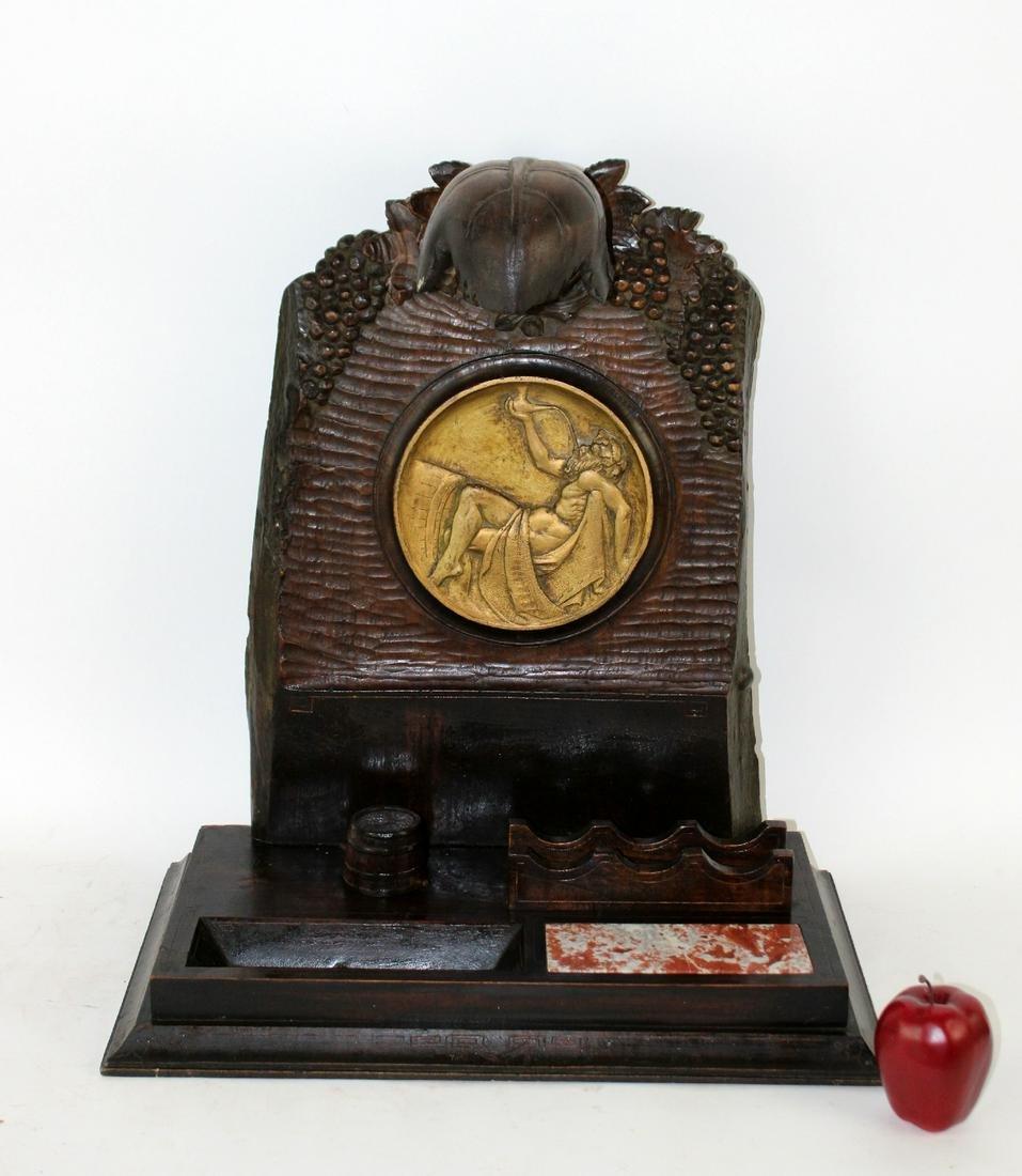 French Art Nouveau carved walnut desk set