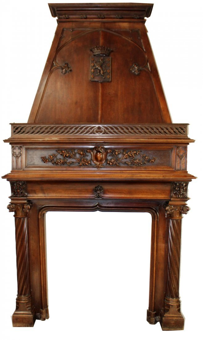 French fireplace mantel with mansard hood
