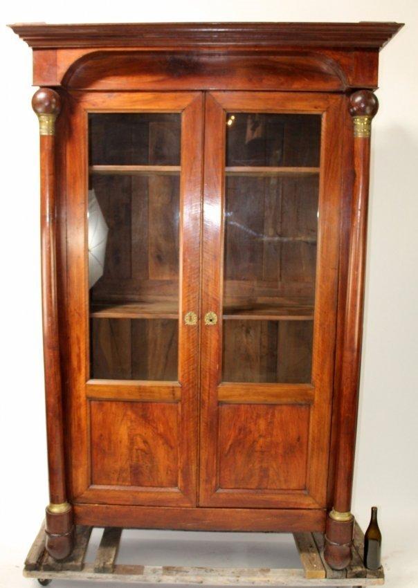 French Empire 2-door bookcase in mahogany