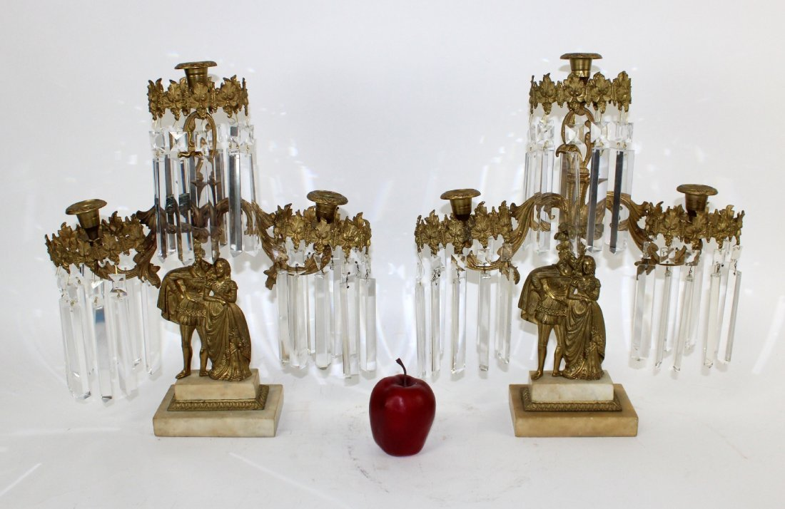Pair French bronze & crystal figural girandoles