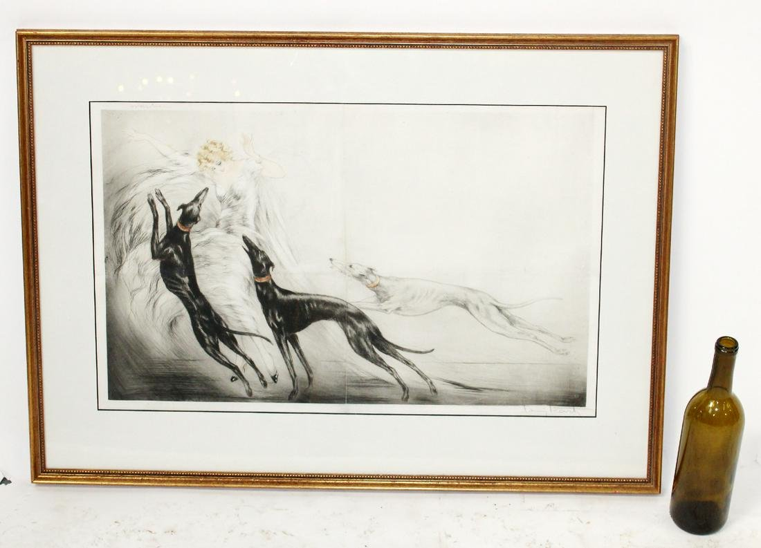 """Louis Icart drypoint etching """"Coursing II"""""""