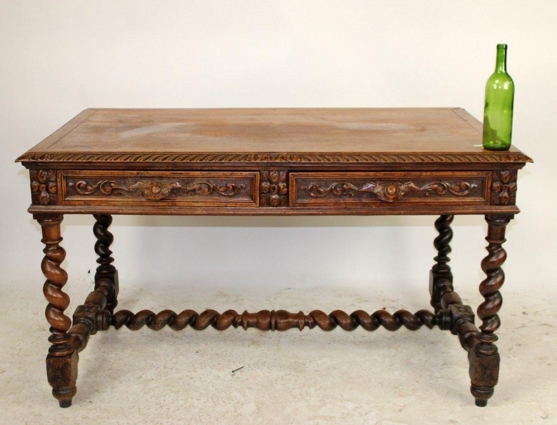 French Louis XIII carved oak bureauplat desk