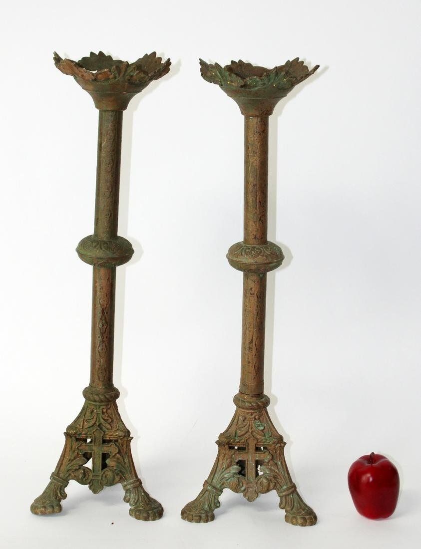 Pair of French Gothic revival candlesticks