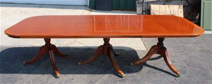 Hepplewhite style triple pedestal table