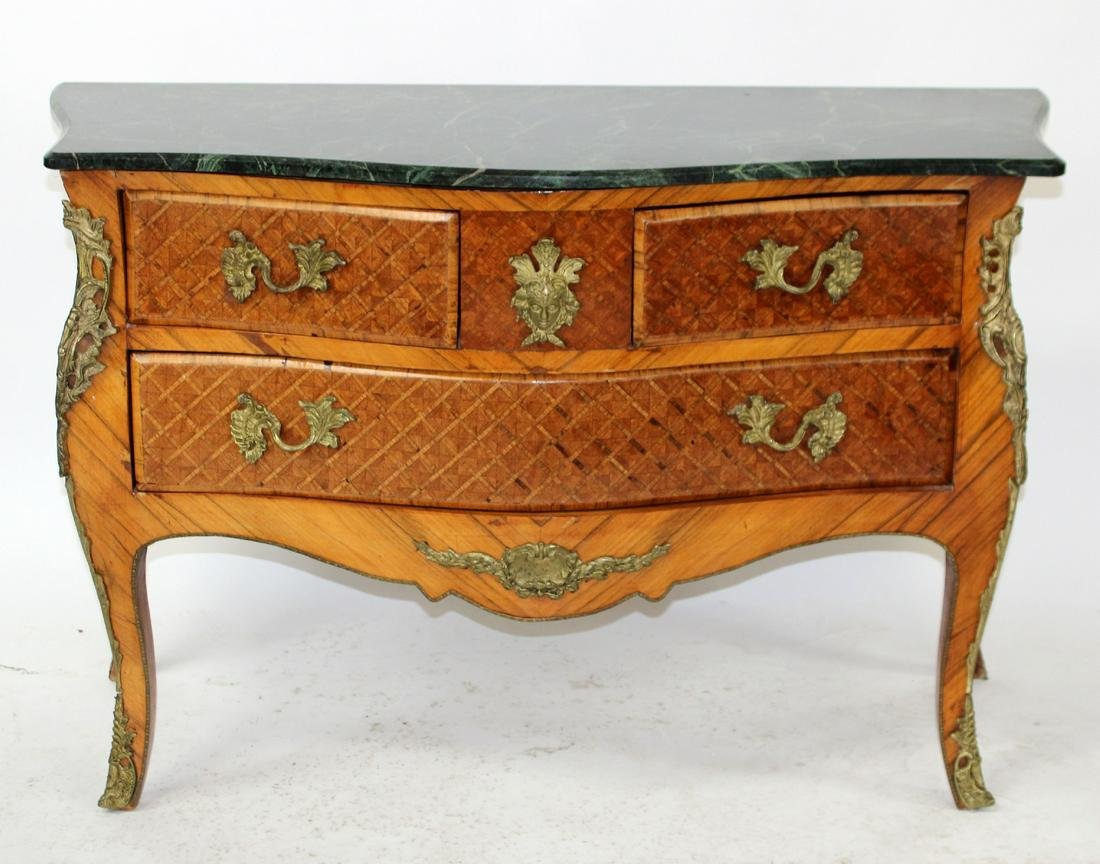 French Louis XV style bombe marquetry commode