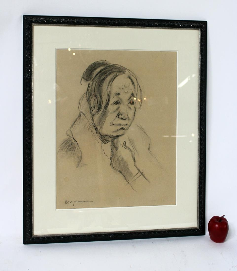 RC Gorman Charcoal drawing on paper