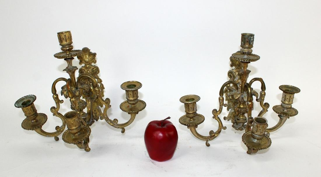 Pair French Louis XV bronze 4-arm sconces