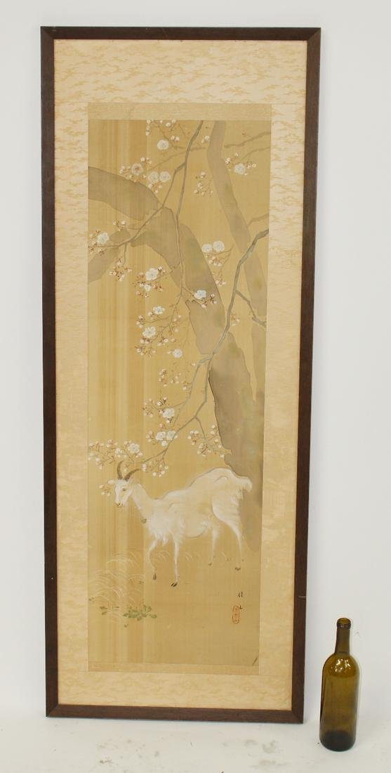 Chinese painting on silk with goat