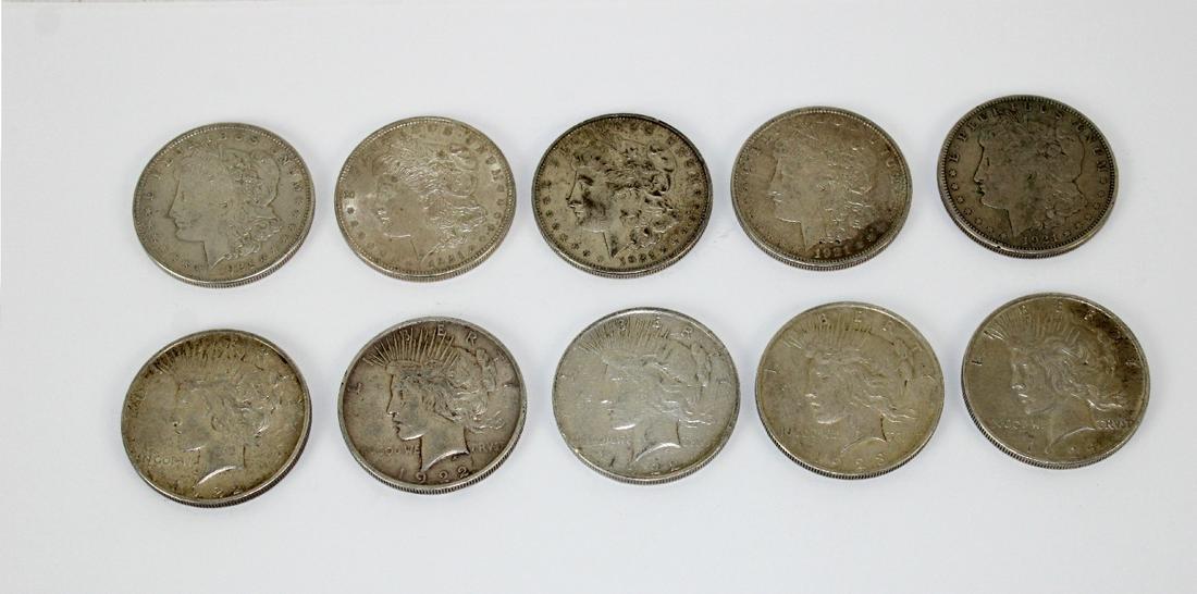 Lot of 10 Morgan & Peace silver dollars