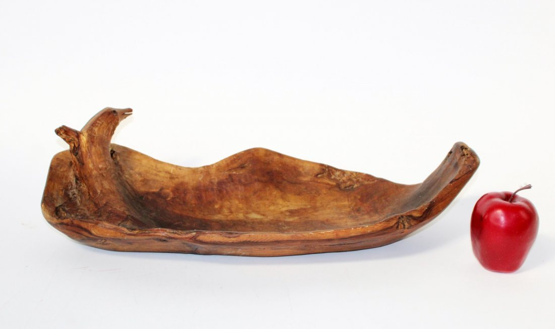 Primitive carved driftwood bowl with dolphin