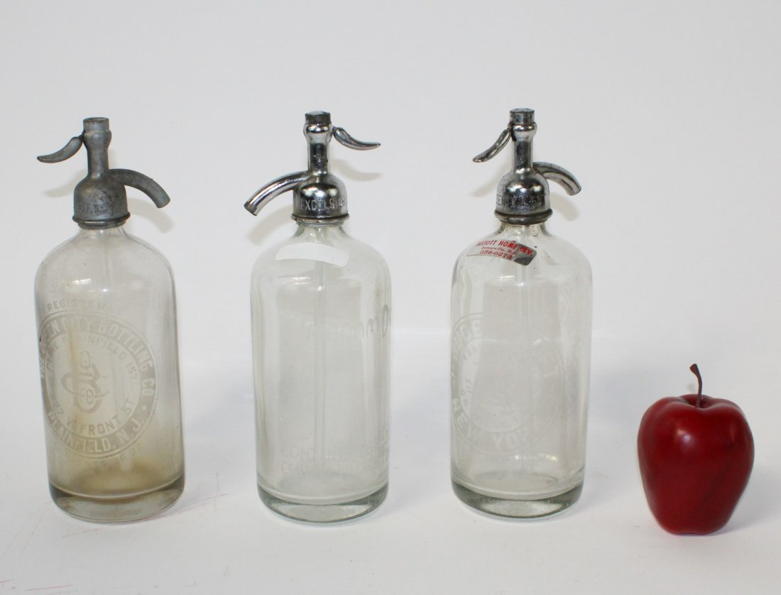 Lot of 3 vintage seltzer bottles