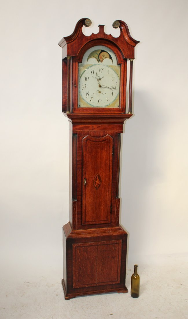 Georgian tall clock in mahogany & oak case