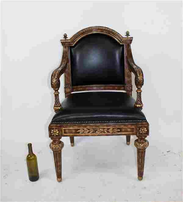 Maitland Smith mahogany & leather armchair