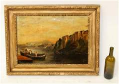 Antique oil on canvas seascape with boats