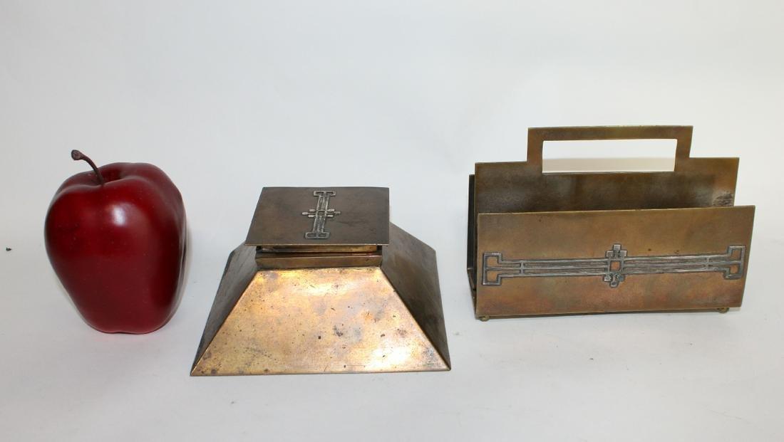 Heintz Art Deco sterling over bronze desk set