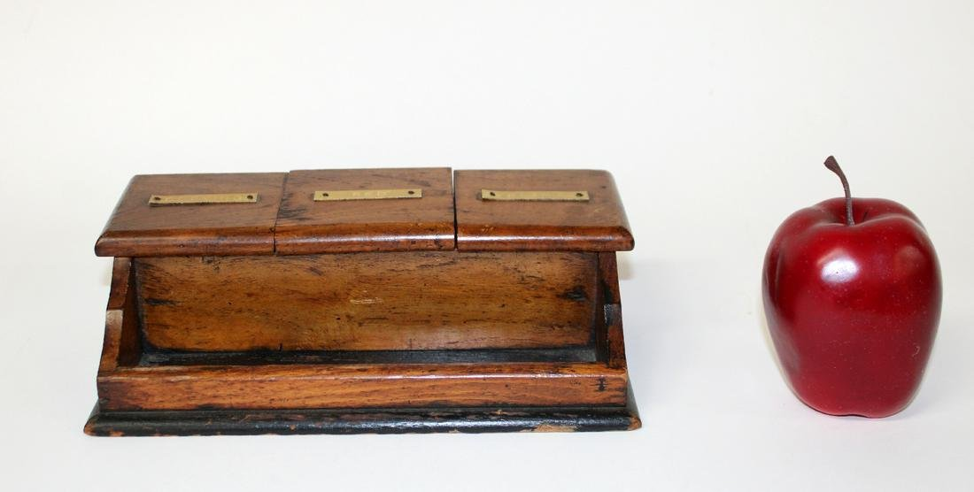 American inkwell in pine with porcelain inserts