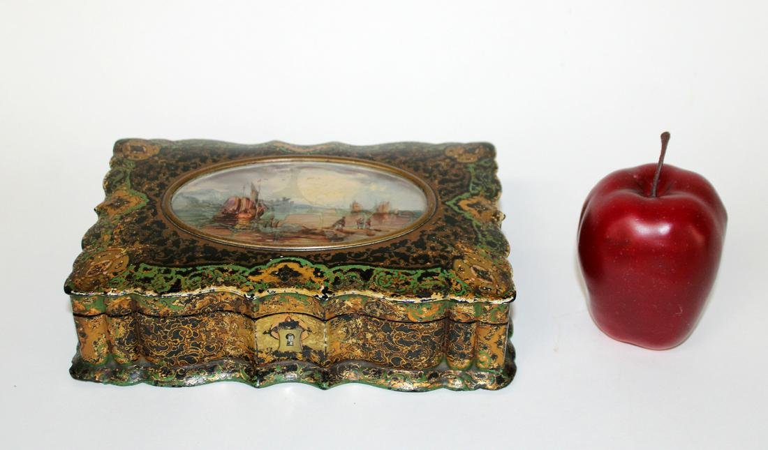 Victorian painted jewelry box