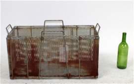 Rustic metal slotted bin with handles