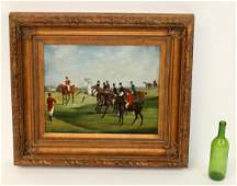 Oil on canvas English style hunt scene painting