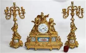 French Villard dore bronze 3 piece clock set