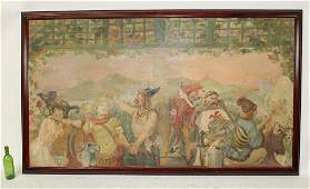 French A. Willette oil on canvas allegorical painting