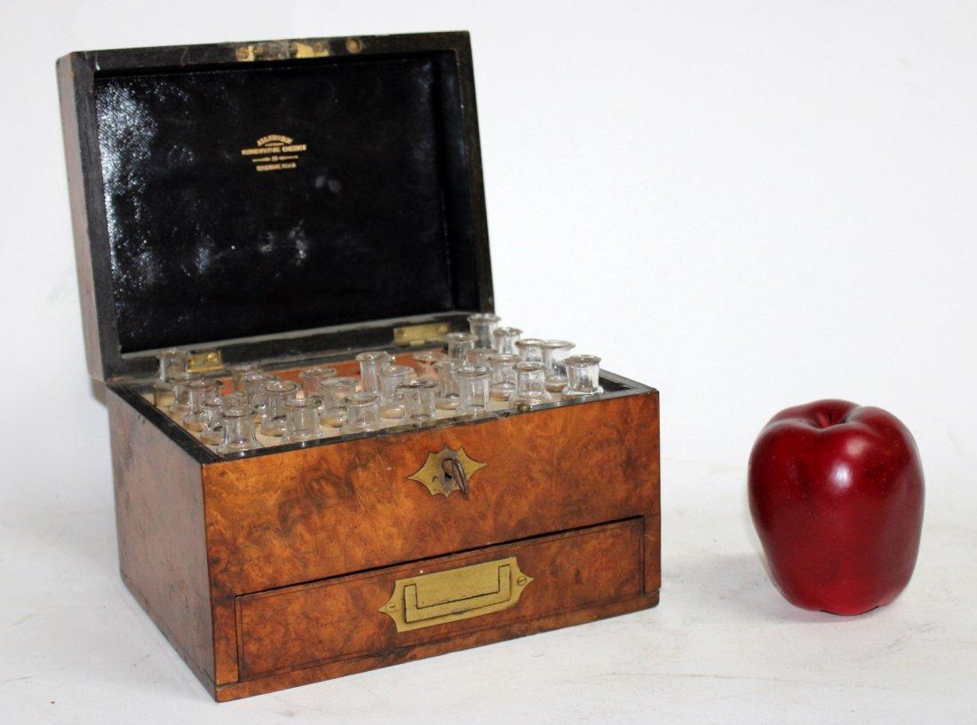 English homeopathic pharmacy box in burled walnut