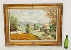 Oil on canvas landscape with village scene