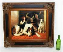 Framed print on canvas with hunting dogs