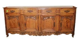French Louis XV 4 door sideboard in walnut
