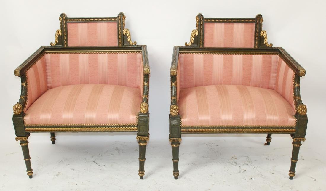 Pair of French Empire bergere armchairs