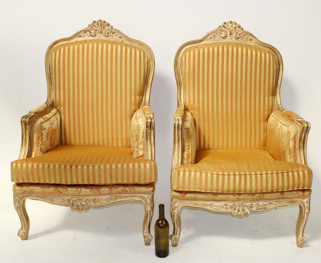Pr Louis XV style silk upholstered armchairs