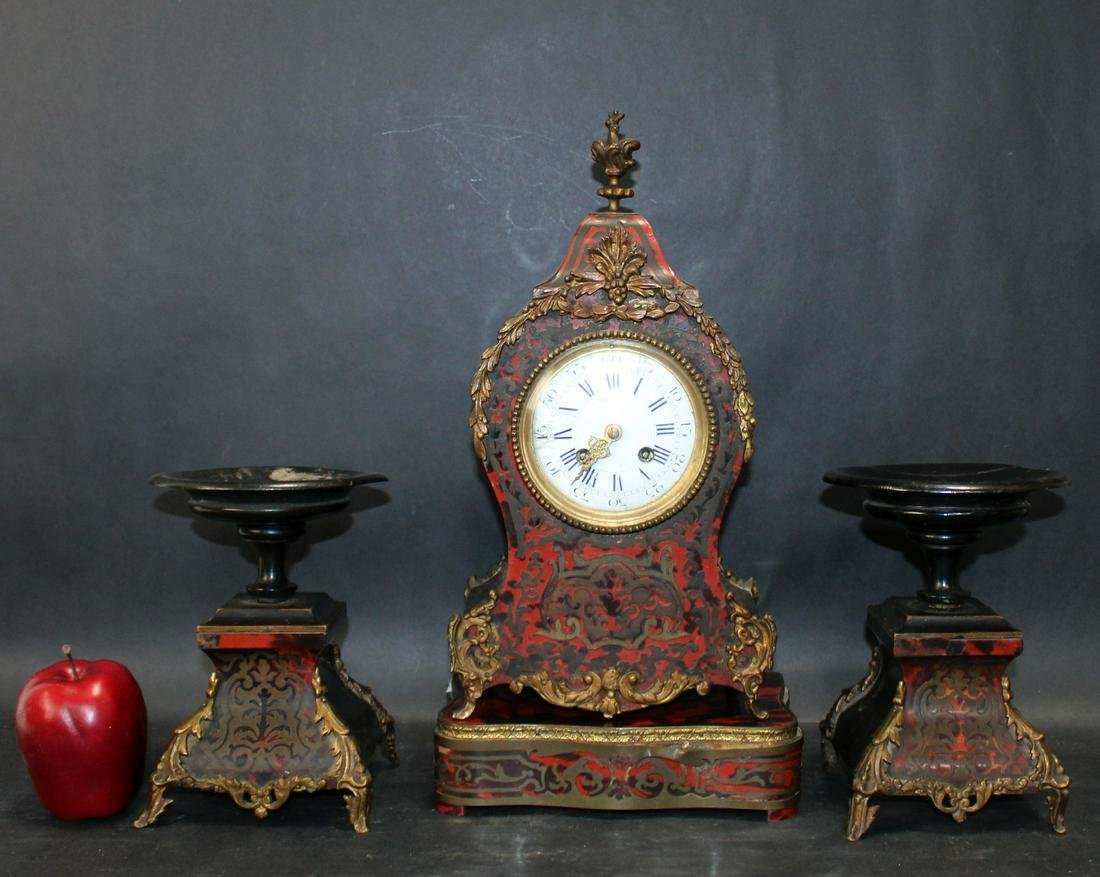 French Boulle style 3 piece clock set