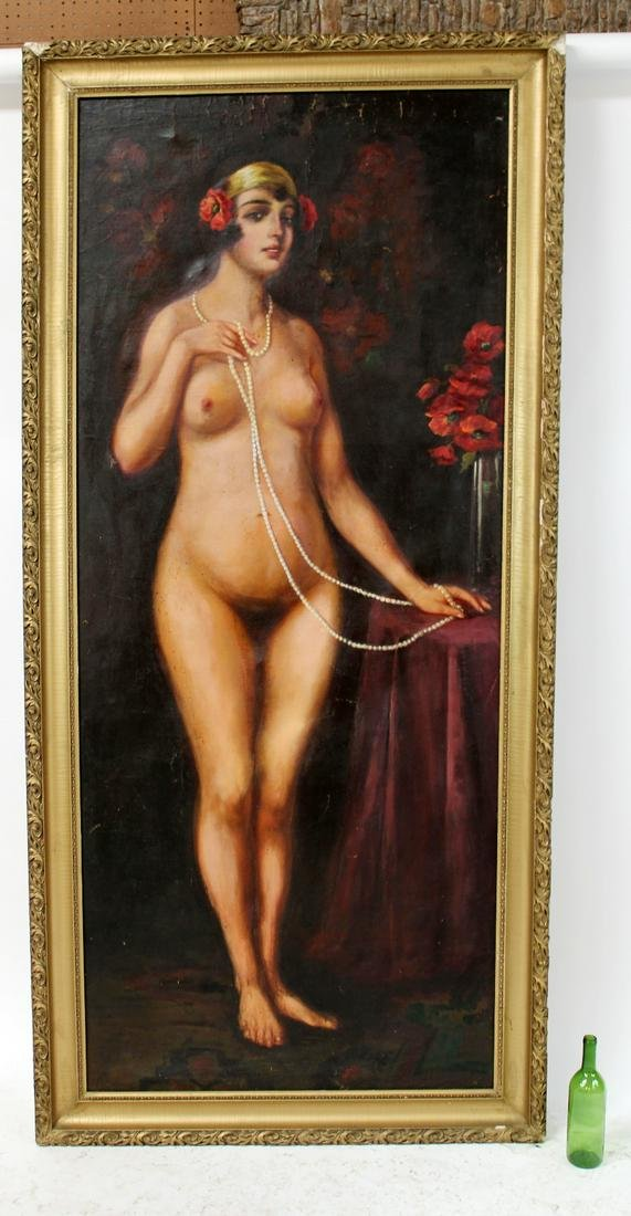 Antique oil on canvas painting female nude