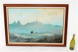 Lester Hughes Oil on canvas mountain landscape
