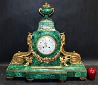 Empire style dore bronze & malachite clock with rams
