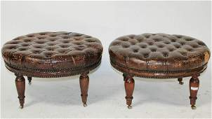 Pair antique English tufted leather stools