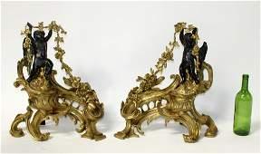 Pair French gilt bronze chenets with cherubs