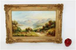 A. Lewis oil on canvas seascape scene