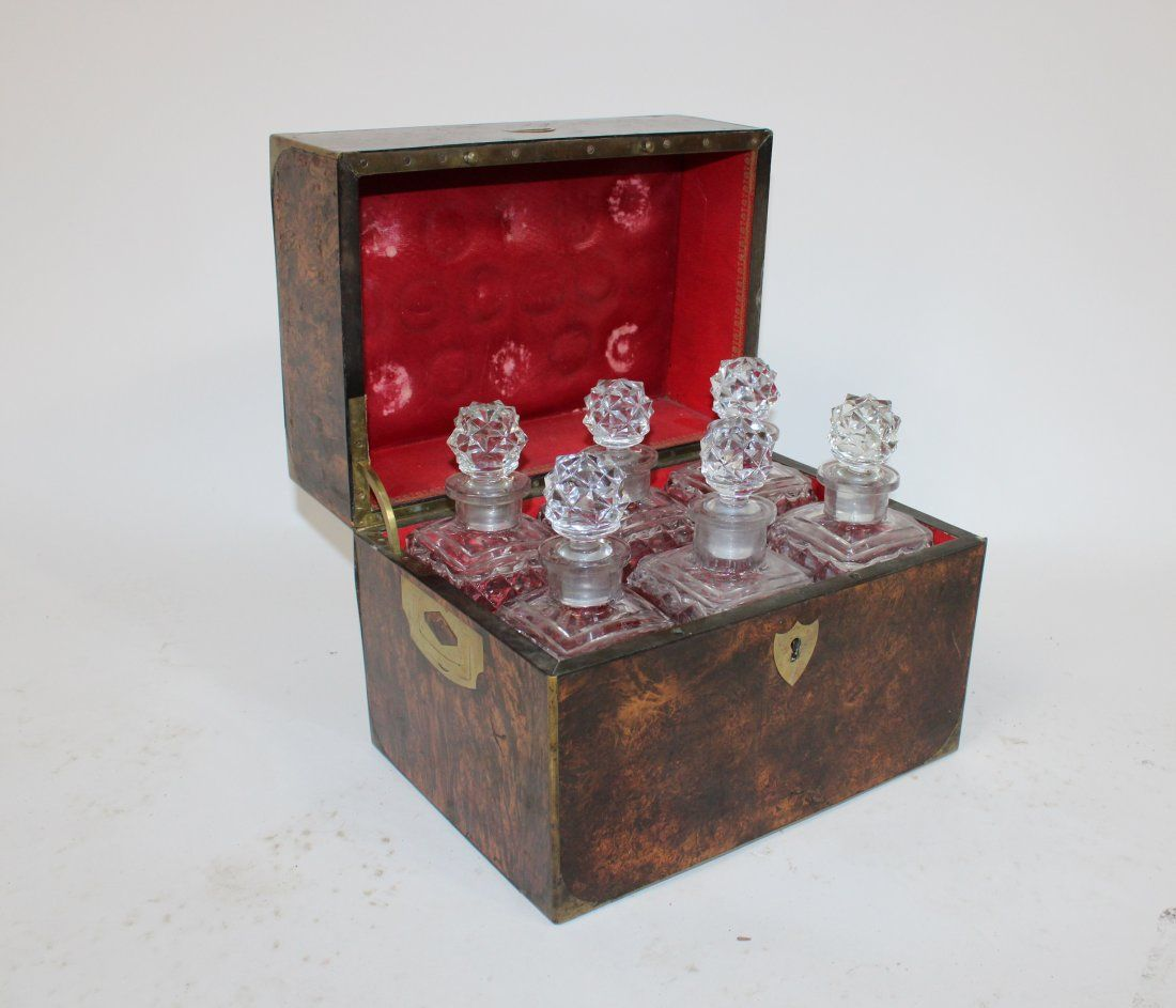 French burled liquor box