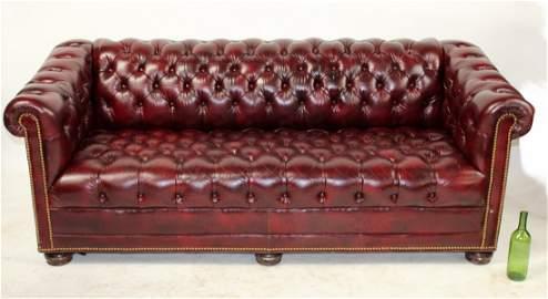 Hancock & Moore oxblood leather chesterfield sofa