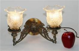 Art Nouveau brass 2arm wall sconces with glass shades